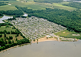 Aerial view of Buttonwood Beach Recreational Vehicle Resort, Earleville, Maryland